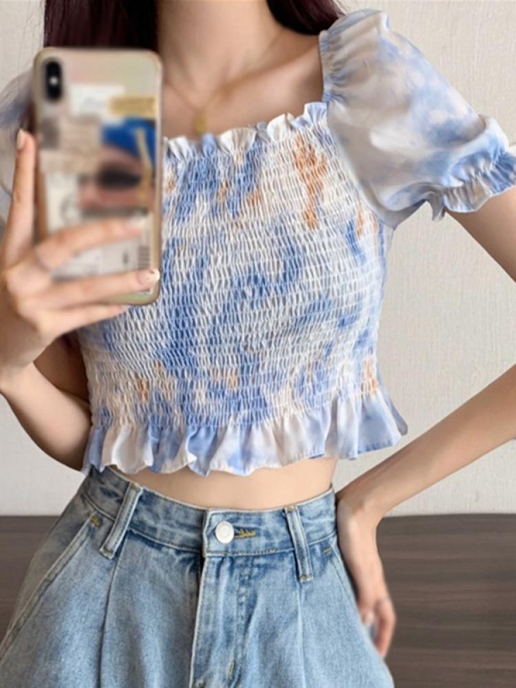 Women Puff Sleeve Ruched Blouses Slim Ruffle Elegant Women Short Sleeve Floral Print Shirt Top plus allover bird print ruffle sleeve top