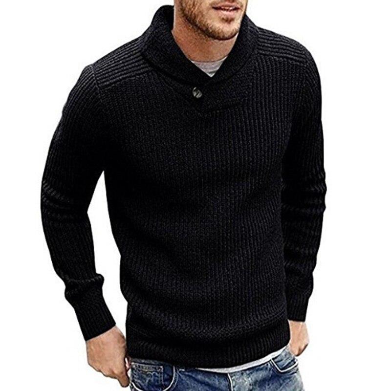 Мужской свитер, однотонный пуловер, свитер, мягкий теплый вязаный Топ, зима-осень