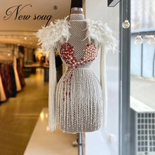 Gorgeous Beaded Cocktail Dresses For Weddings Tassel 2021 Feathers Formal Prom Dress Arabic Dubai Wo