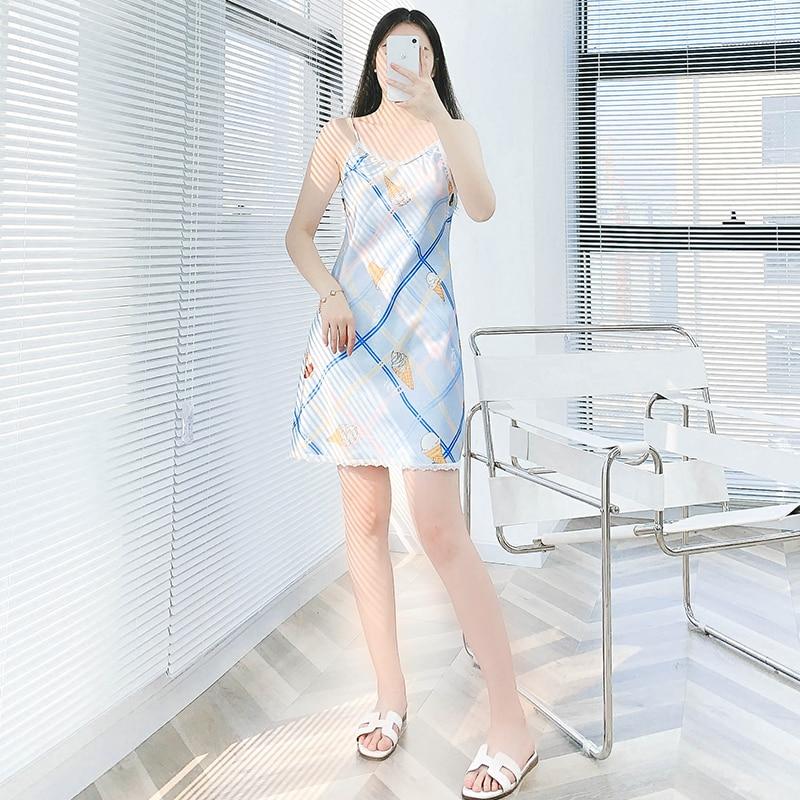 Spring Summer Cami Shorts Nightdress Ladies Print Casual Korean Style Thin Mid Skirt Home Wear