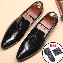 En cuir véritable hommes brogue Business Mariage banquet chaussures pour hommes décontracté chaussures plates vintage fait main oxford chaussures pour hommes 2020