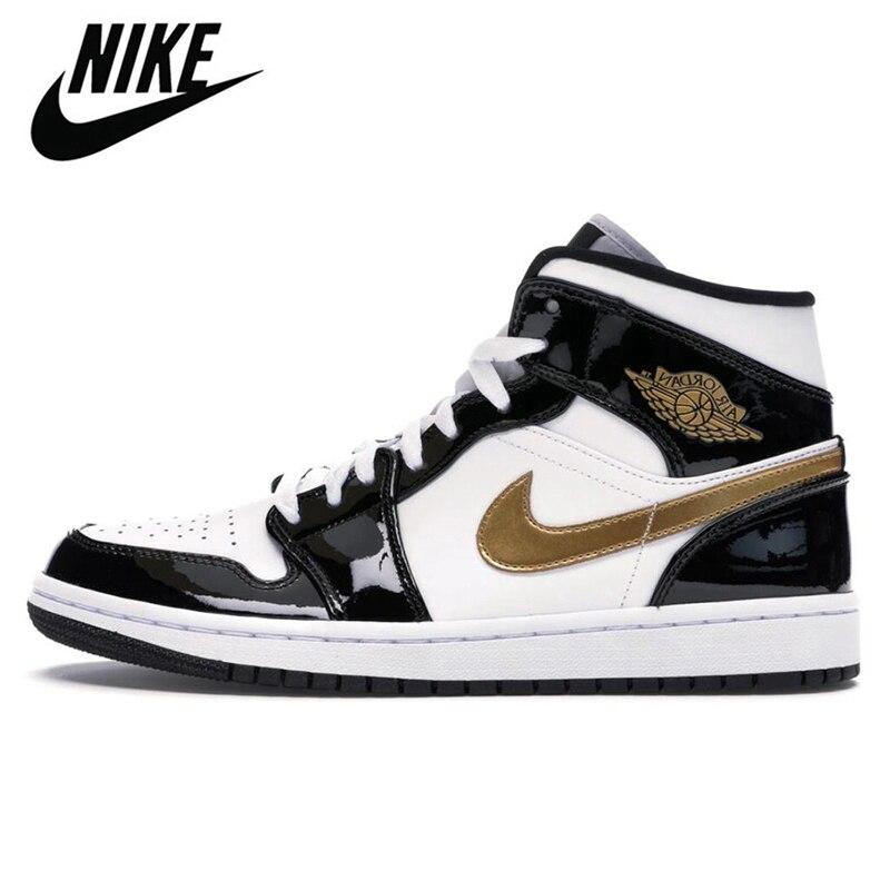 -Zapatillas Nike Air Jordan 1 AJ One, Retro, Negro, dedo del cuero,...