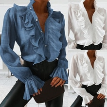 Blusa Casual y sólida a la moda para mujer 2020, camisa holgada con volantes de manga larga de verano y otoño para las vacaciones