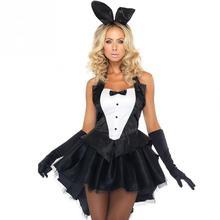 Adult sexy black Bunny Girl Costume Halloween Cosplay Female Magician Performance Tuxedo