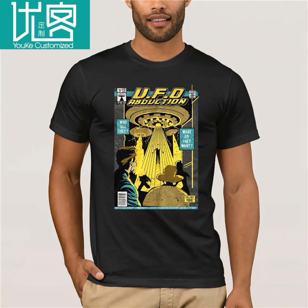 Alien UFO camiseta Abduction X Files unknown Flying Object Area 51 Roswell Cartoon camiseta hombres Unisex nueva moda