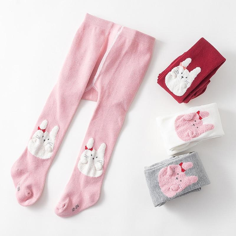 2 unids/lote medias bebé 0-2Yrs primavera otoño lindo Bordado de conejo bebé niñas mallas tejidas de algodón medias para las niñas