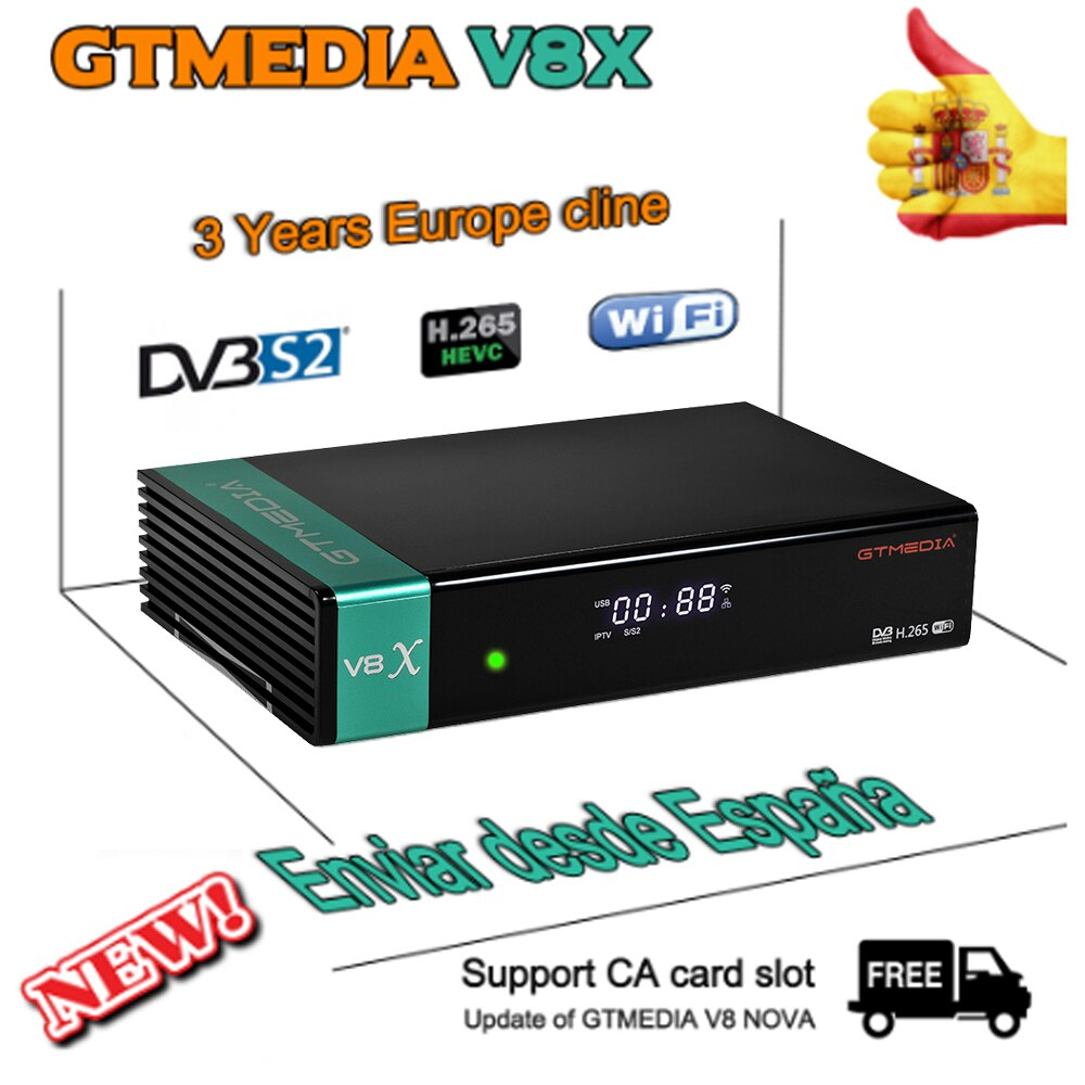 Original GTmedia V8X Update of Gtmedia V8 NOVA with 3 years Spain Europe cline DVB-S/S2/S2X Built in wifi CA card slot decoder