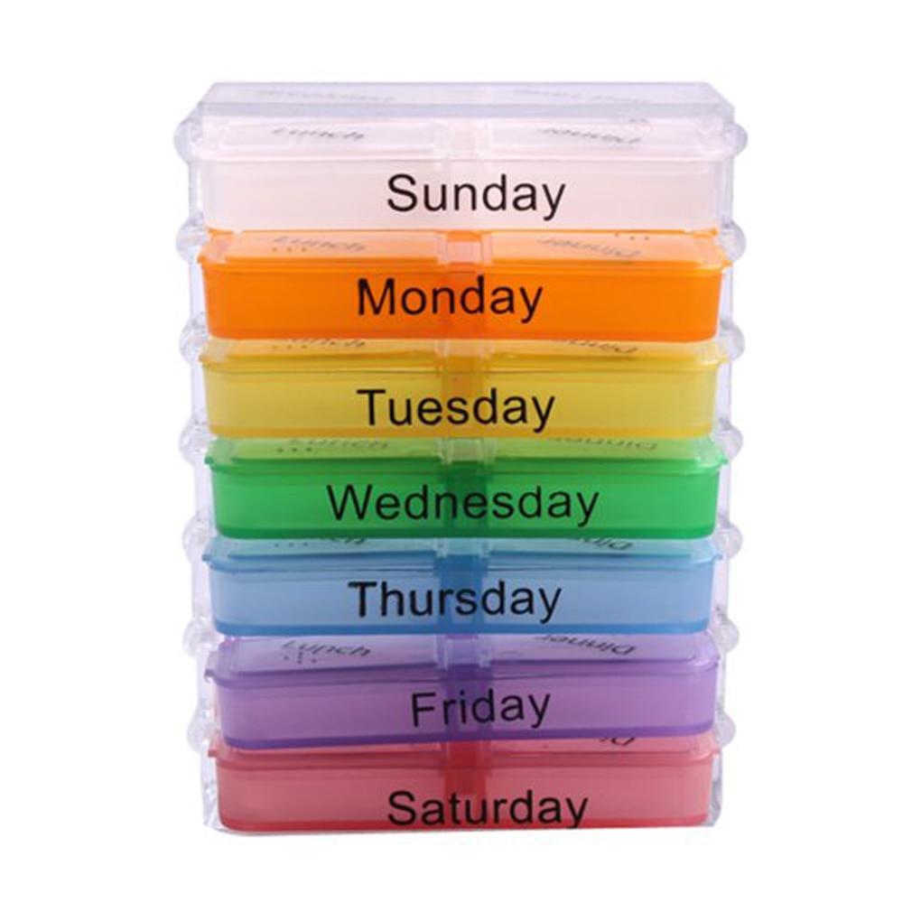 Hot Sale Medicine Weekly Storage Pill 7 Days Tablet Sorter Box Container Case Organizer
