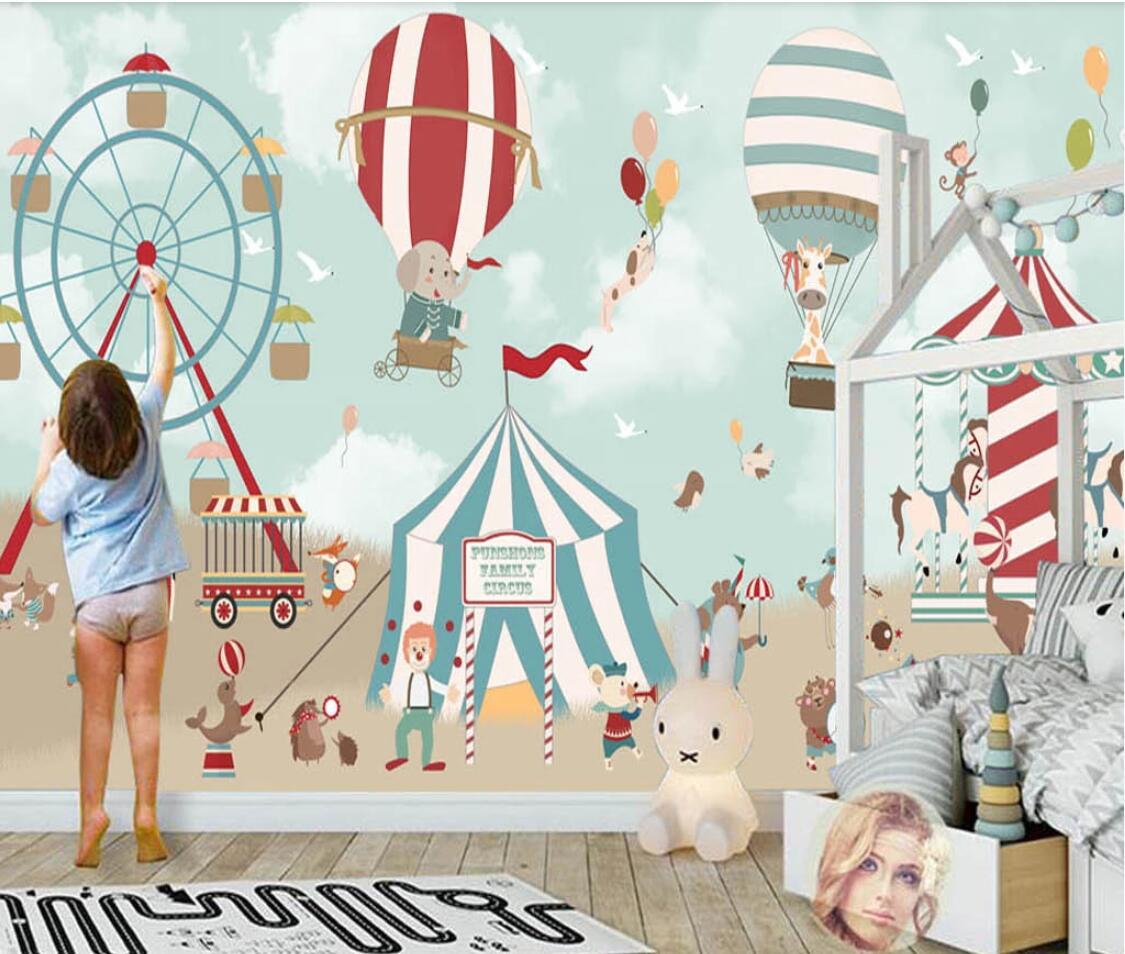 Fondo con globos De aire caliente De cartón De Papel pintado con foto 3d, Mural De lona, pintura De pared, papeles impresos, tela De seda, Papel De pared