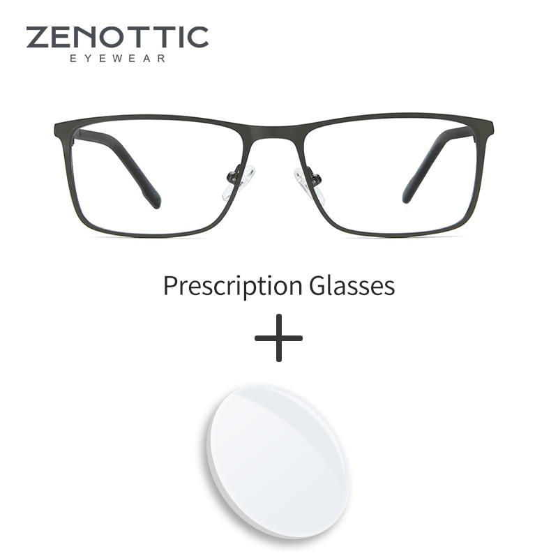 ZENOTTIC Square Glasses Frame Prescription Optical Eyeglasses Anti-blue Light Photochromic Progressi