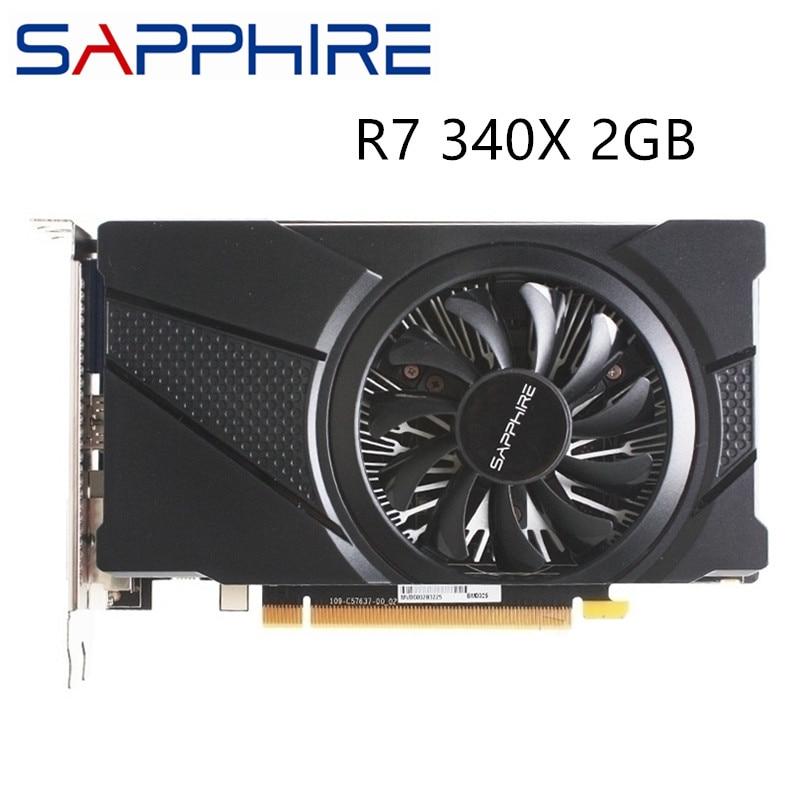يستخدم الياقوت R7 340X 2GB بطاقة جرافيكس ل AMD راديون R7340 2GB بطاقات شاشة الفيديو وحدة معالجة الرسومات حاسوب شخصي مكتبي كمبيوتر الألعاب HDMI DVI