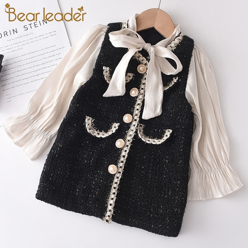 Bear Leader Girls Princess Patchwork Dress 2021 New Fashion Party Costumes Kids Bowtie Casual Outfit