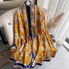 2021 Winter Scarf for Women Shawls Wrap Fashion Print Warm Thick Cashmere Foulard Lady Pashmina Fema