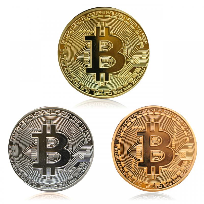 Bitcoin Coin Gold Plated Collectible Art Collection Physical Commemorative Metal Antique Imitation Commemorative for Hobbies