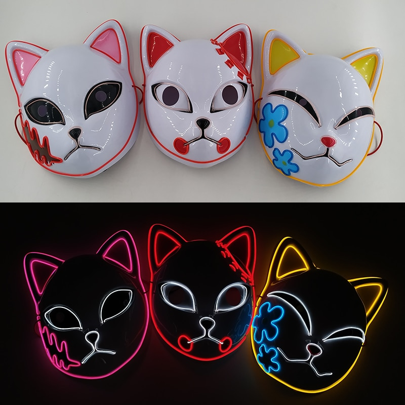 Luminous Fox LED Mask Halloween Cosplay Party Costume Accessories Japanese Anime Demon Slayer Rechargeable Glowing EL Wire Mask