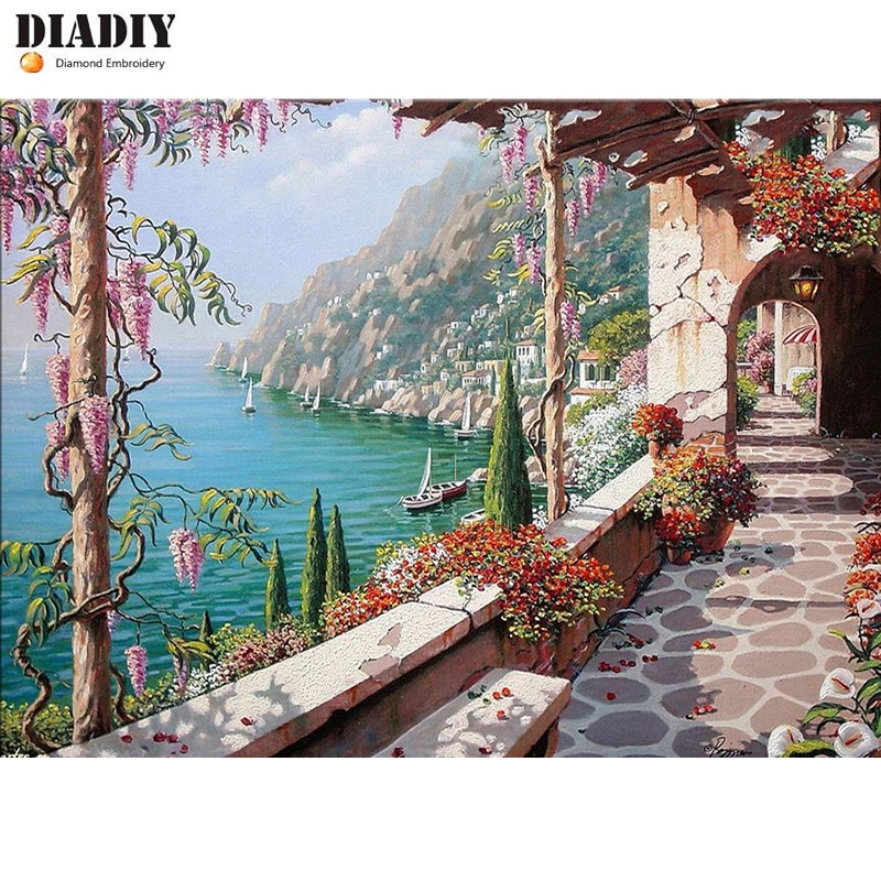 DIADIY 5D Diy Diamond Painting 100% Full Round Diamond Mosaic Rhinestone Pasted Painting Villa On Italy Unfinished Diamond Decor