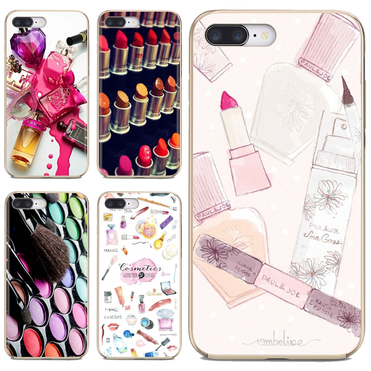 Funda suave de teléfono para Huawei Mate Honor 4C 5C 5X 6X 7 7A 7C 8 9 10 8C 8X 20 Lite Pro herramientas pintalabios Beauty Girl Makeup Set
