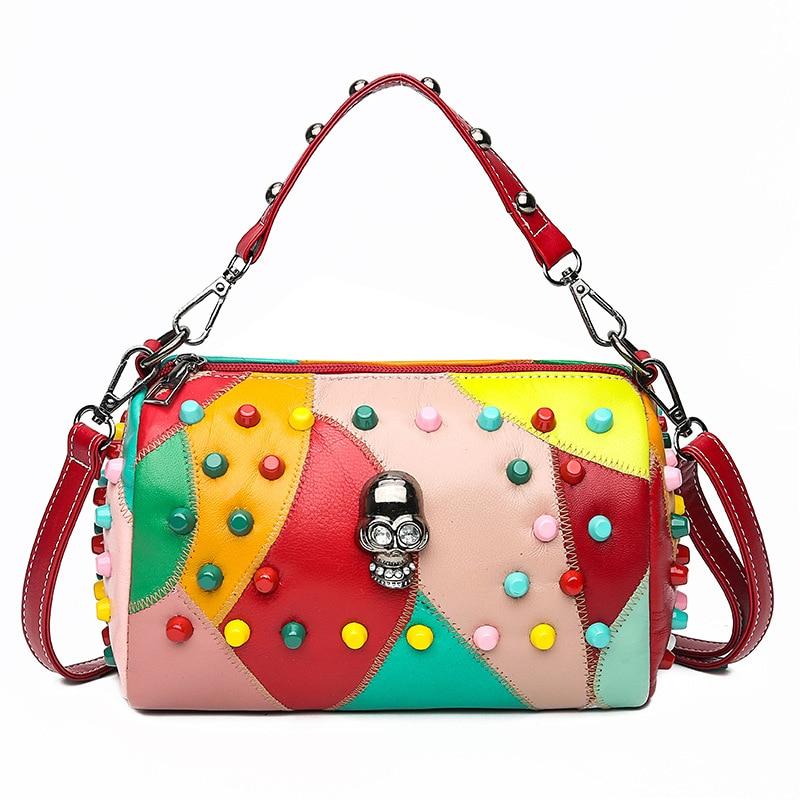 Luxury Handbags Leather Women Bags Rivet crossbody bags for women 2020 Fashion Skull Messenger Shoulder bag torebki damskie