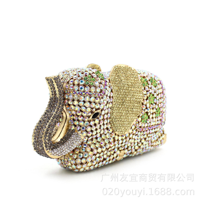 XIYUAN-حقيبة كتف فاخرة على شكل فيل للنساء ، حقيبة سهرة من الكريستال ، كلاتش للحفلات الراقصة ، محفظة ، بلينغ ، سهرة ، مأدبة نسائية