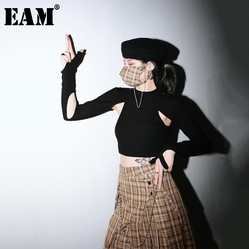 [EAM] قميص نسائي أسود مجوف مناسب للارتداء ذو قصة ضيقة ذو رقبة مستديرة وأكمام طويلة أنيق لربيع وصيف 2021 1U381