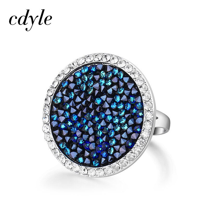 Cdyle Bulgarien Schmuck Silber Farbe Ring Größe 6 7 8 9 Kristall Bermuda Blau Stein Weiblichen Ringe Freies Verschiffen 1PCS
