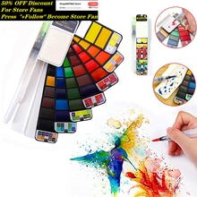 Ensemble de peinture aquarelle solide supérieur 18/25/33/42 couleurs Pigment de peinture de voyage pliable avec des fournitures détudiants de stylo de brosse à eau