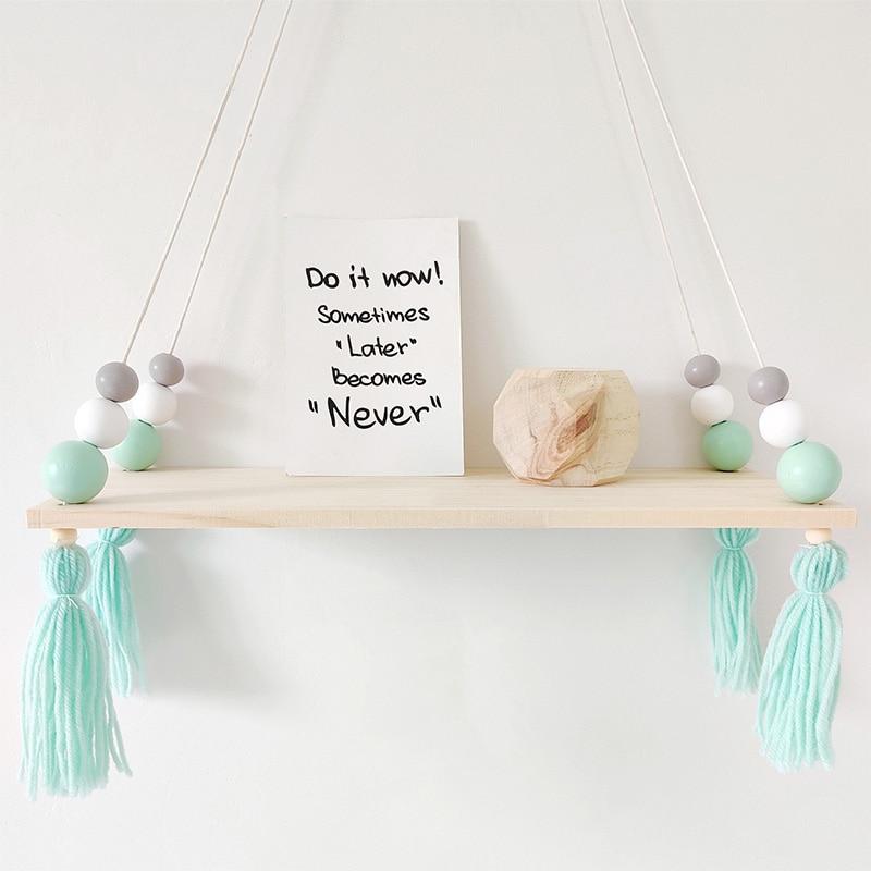 Wood Wall Hanging Shelf for Boys Baby Bedroom Decoration Wooden Beads Tassel Storage Rack Organizer Bookshelf Nursery Home Decor