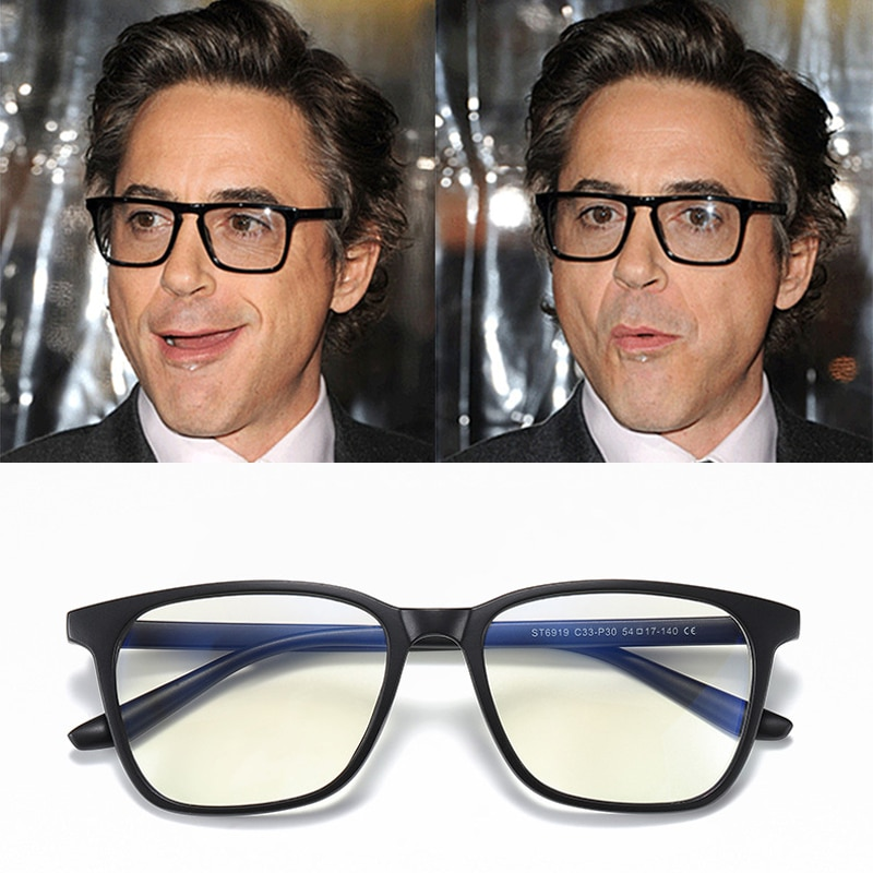 Robert Downey Jr Filtering Protect Eyesight Anti Blue Light Glasses Men Look At Phone Blocking Glare Computer Eyeglasses Frame