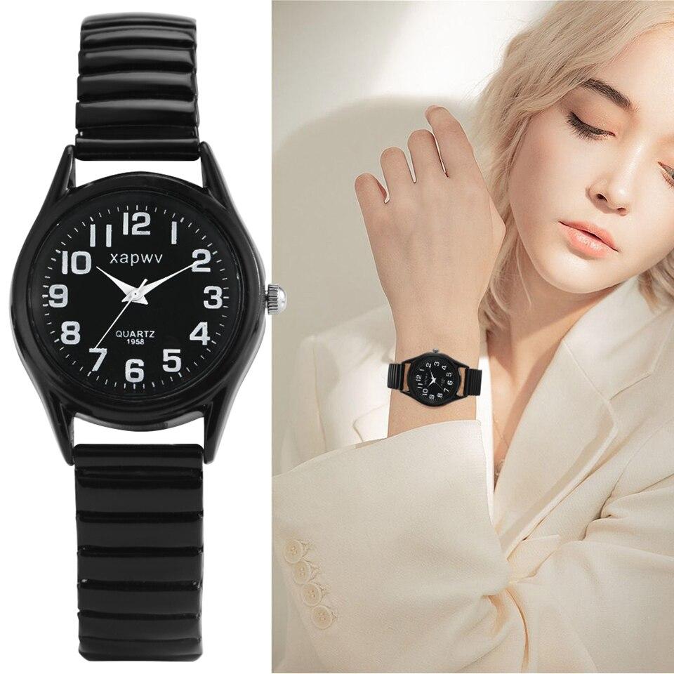 Minimalist Men Women Black Elastic Band Classic Arabic Numeral Dial Quartz Watch New Product Couple