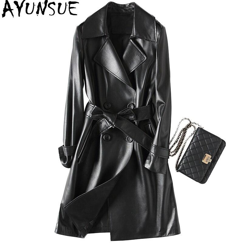 AYUNSUE-جاكيت جلد أصلي للنساء ، معطف طويل من جلد الغنم ، حزام ، مجموعة خريف وشتاء 2020 ، YFG7019