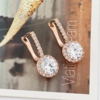 new trendy earring round zircon unusual earrings for women 585 rose gold color jewelry wedding party gifts fashion jewelry