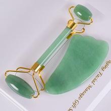 Нефритовый ролик и Gua Sha набор натуральный зеленый аверн нефрит ролик для массажа лица Gua Sha камень массаж тела шеи здравоохранения инструмен...
