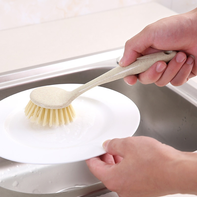 1 pieza de paja de trigo con mango largo para lavar el plato, lavar el plato, lavar el fregadero, fregadero, suministros de cocina, accesorios de Herramientas de limpieza