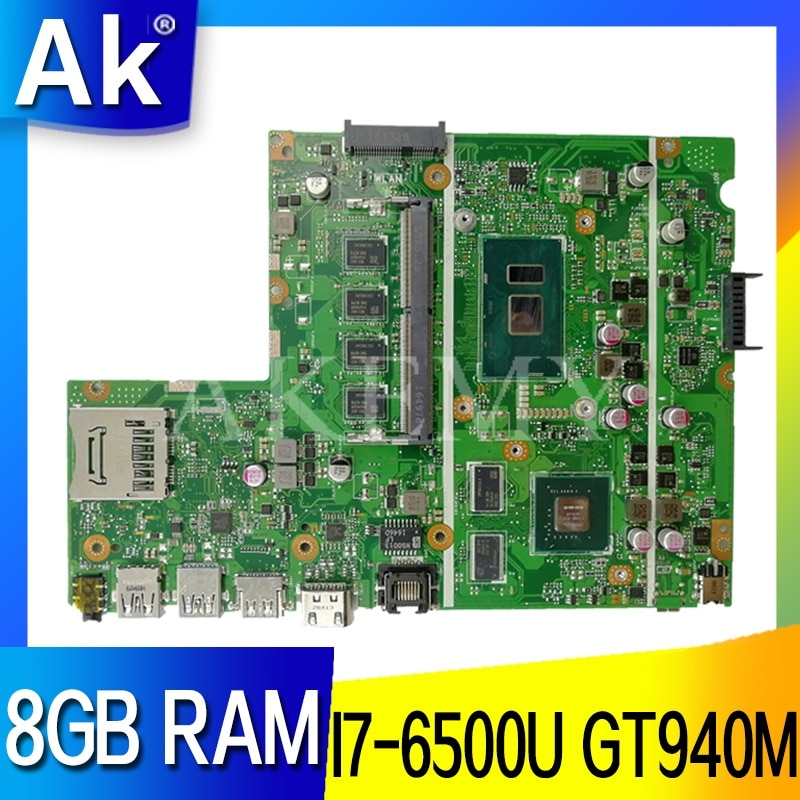 Akemy Para ASUS X541UJ X541UV X541UQ X541U X541 X541UVK X541UQk Laotop X541UV Mainboard Motherboard W/GT940M I7-6500U 8GB de RAM