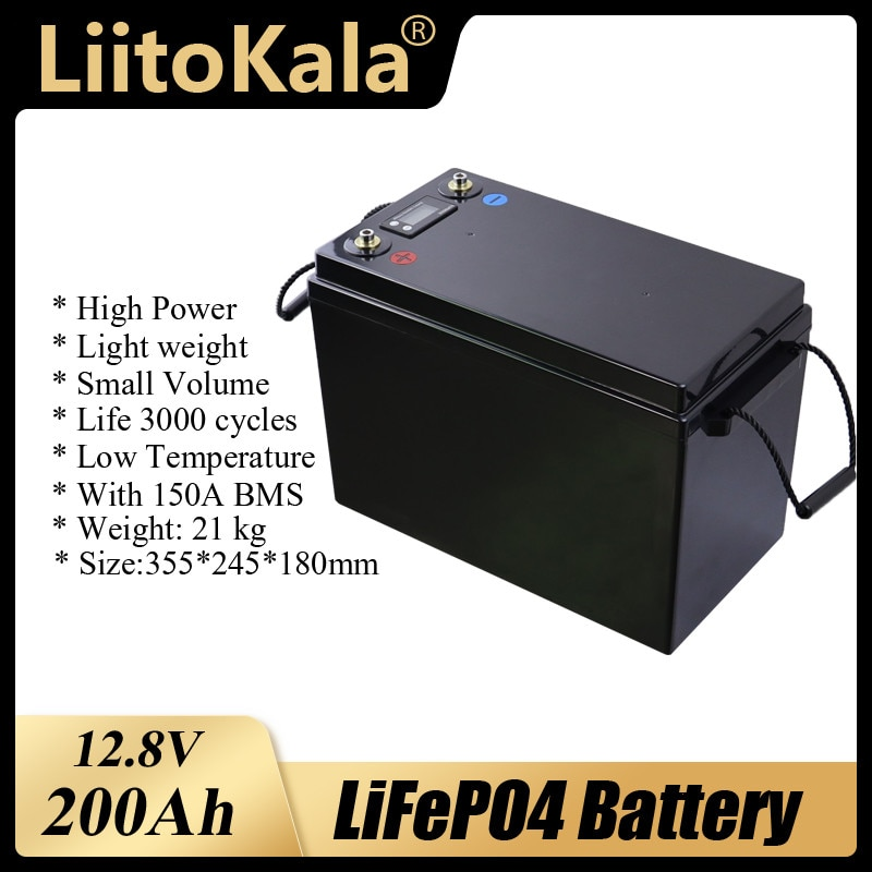 12 فولت 200Ah LiFePO4 بطارية BMS بطاريات الطاقة الليثيوم 3000 دورات ل 12.8 فولت RV المعسكر عربة جولف على الطرق الوعرة خارج الشبكة الرياح الشمسية