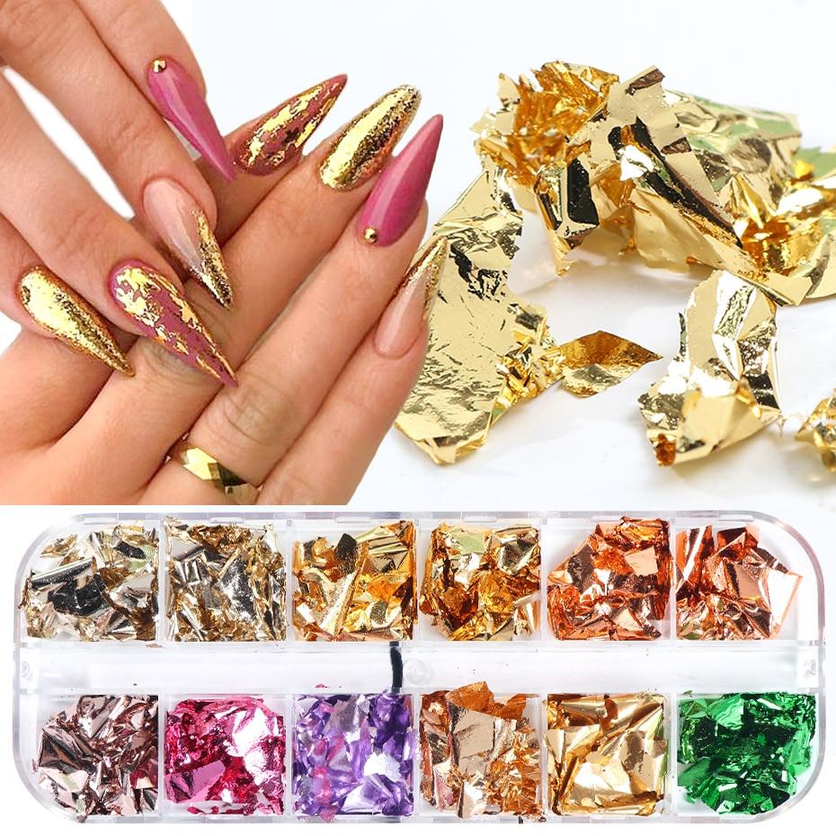 Polvo de espejo para uñas, 1 Uds., copos de aluminio, lentejuelas irregulares, lámina de pigmento de oro y plata, purpurina para JIZB01-02 DE MANICURA