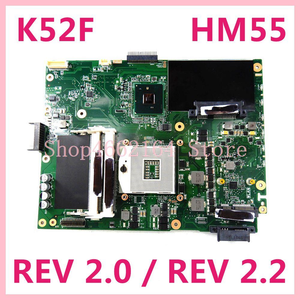 K52F REV2.0/REV2.2 لوحة أم للكمبيوتر المحمول ASUS A52F X52F K52F اللوحة الرئيسية 60-NXNMB1000 100% مجربة تعمل شحن مجاني