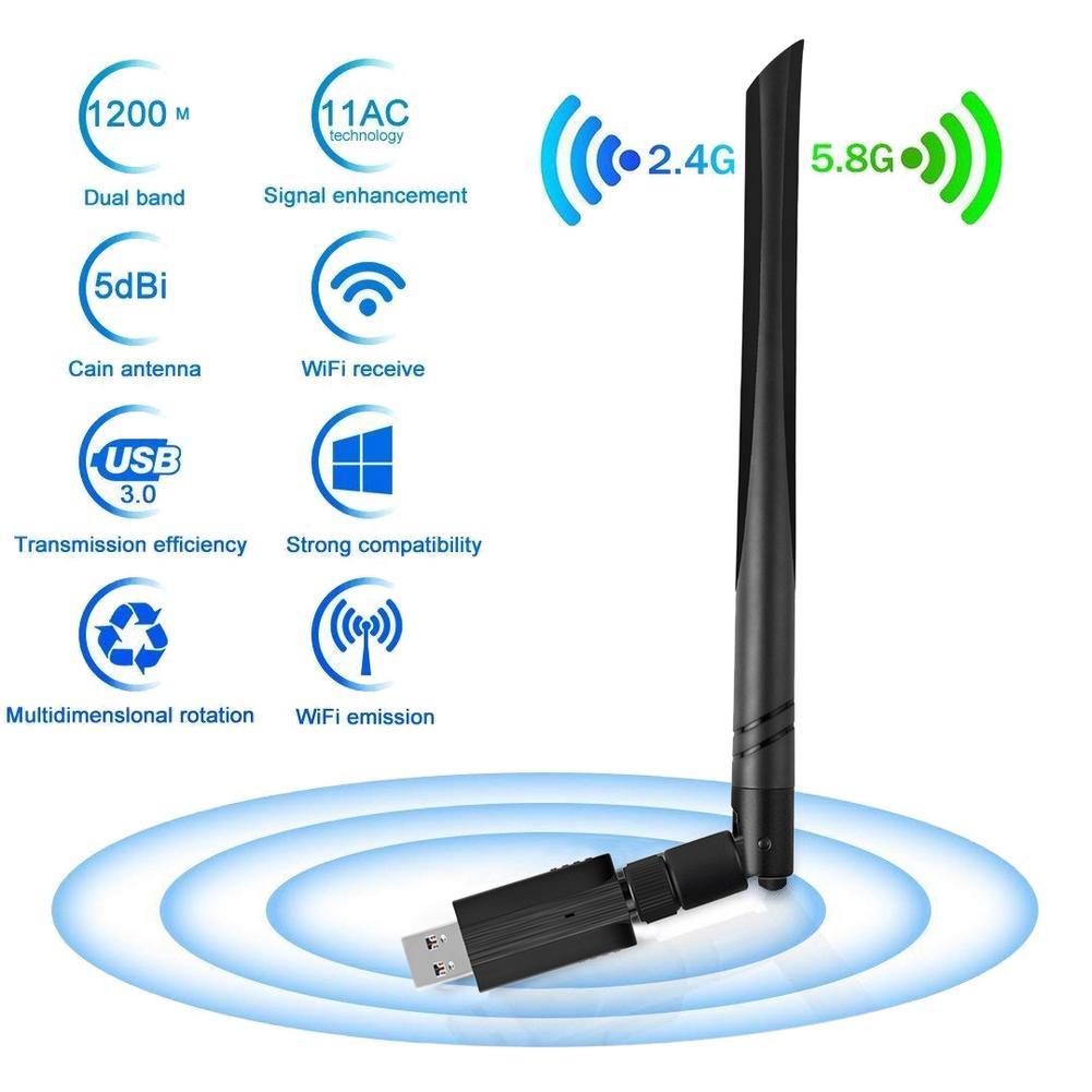 3,0 adaptador WiFi USB receptor 1200 Mbps doble banda wifi адаптер con 5G/2,4G tarjeta antena Wi-Fi receptor USB para PC portátil
