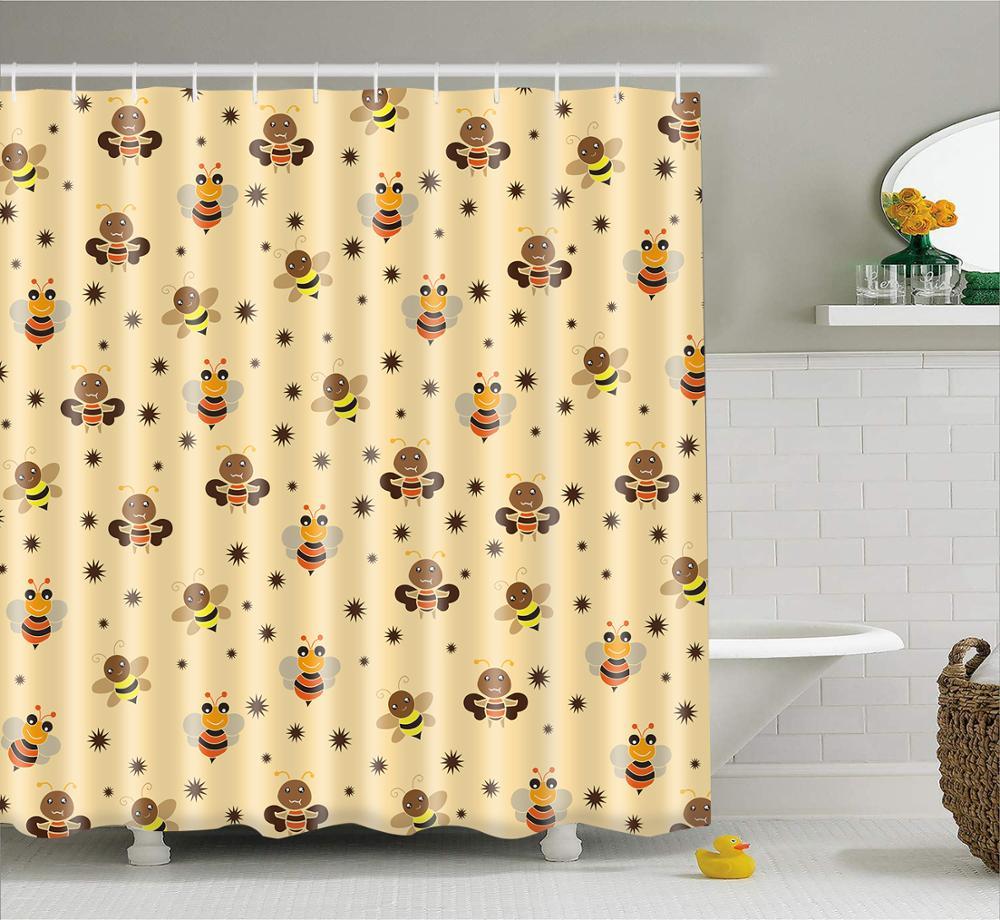 Cortinas de ducha modernas de dibujos animados de estilo simple, tela de poliéster, juego de cortina de baño impermeable, decoración de baño, pantalla lavable
