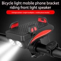 Bicycle Light USB Rechargeable Flashlight Phone Holder Bike Bell Bike Headlight 4000 mAh Power Bank Cycling Horn Led Light