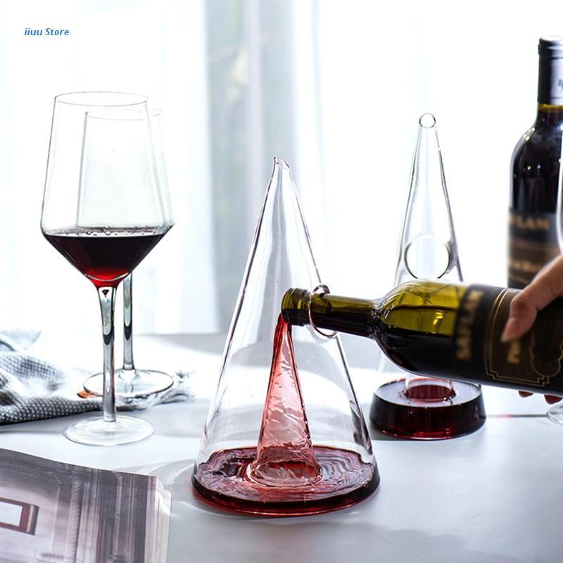 دورق النبيذ الزجاجي الهرم شلال ويسكي فاصل مدفق نبيذ مقسم الشمبانيا النبيذ اكسسوارات أدوات البار