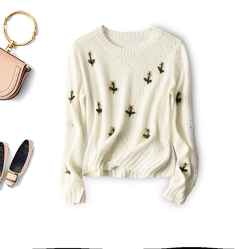 SHUCHAN 36% Alpaca 46% Wool Sweaters for Women Embroidery Floral Prairie Chic  Autumn Winter Hollow Out Dropshipping enlarge