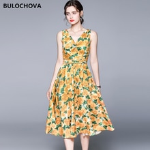 2021 Newest Summer Vintage Printed Sweet Women V Neck Sleeveless Vest Long Dress Large Size Runway A