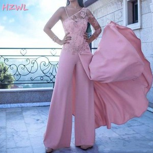 2021 Sexy Pink Jumpsuits Arabic Women One Sleeve Prom Dresses Appliques Lace Illusion Chiffon Pant Formal Dresses Evening Wear