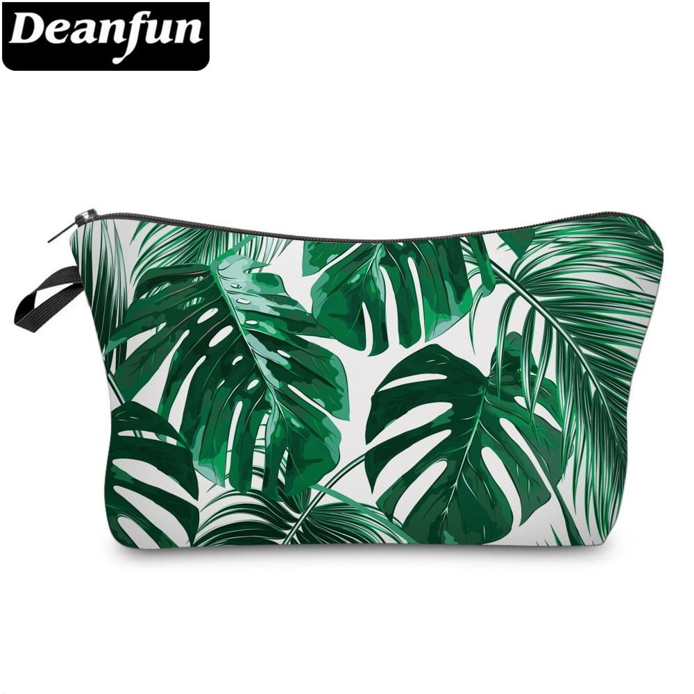Deanfun Women's Cosmetic Bag Durable Turtle Leaf Toiletry Bags Portable Green Purse Bag Makeup Bag For Travel D51910