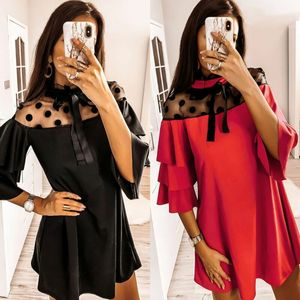 2020 NEW Women Sexy Ruffle A-Line Dress Ladies Party Evening Mesh Clubwear Mini Dress