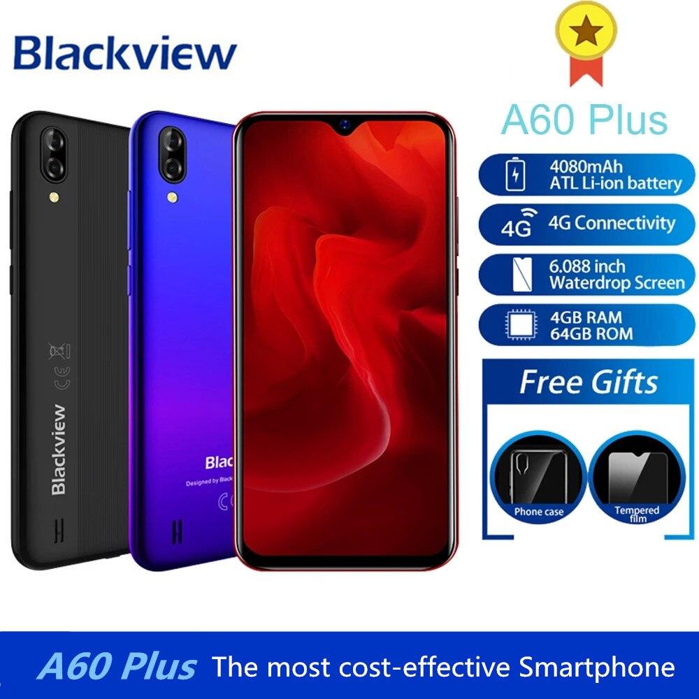Перейти на Алиэкспресс и купить Blackview A60 плюс мобильный телефон 4 Гб + 64 Гб MTK6761V/ВБ 4 ядра 6,088 дюймв виде капли воды, Экран 4080 мА/ч, 4G мобильный телефон с сенсорным ID смартфон