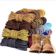 1 Pair Martin Shoes Round Shoe Laces Striped Double Color Fashion Shoelaces Outdoor Hiking And Leisu