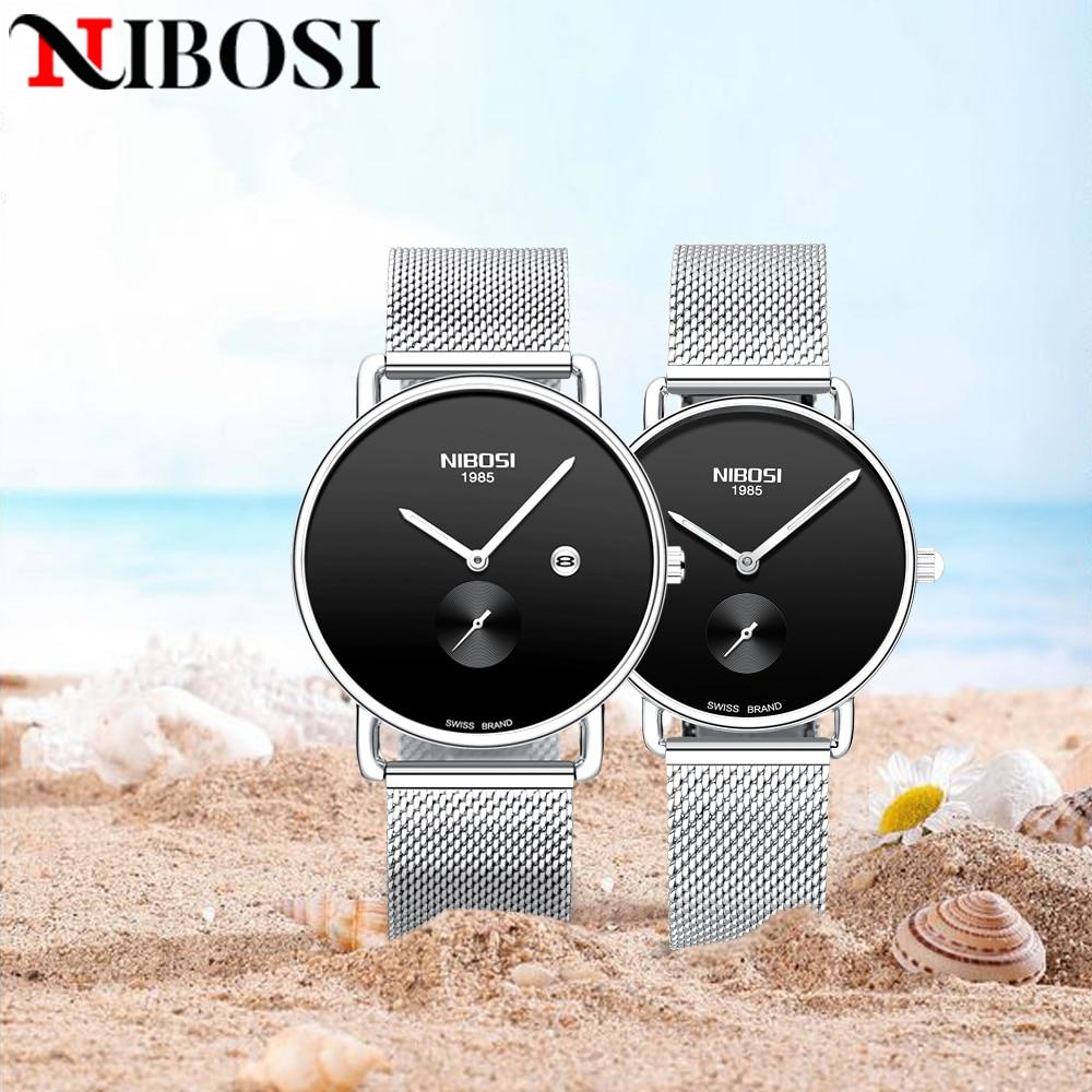 NIBOSI Couple Watch Top Brand Luxury Quartz Mens Watches Women Clock Ladies Business Dress Wristwatch Fashion lover watches 2020