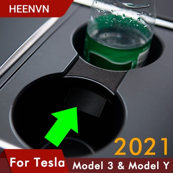 Heenvn Model3 Car Water Cup Holder For Tesla Model Y 2021 Accessories Interior Center Console Storage Organizer Model 3 Three